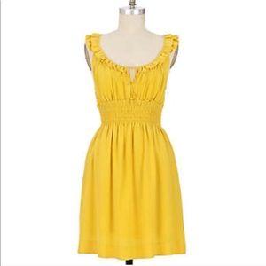 Anthropologie Floreat Mustard Yellow Silk Dress